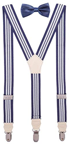CEAJOO Mens' Bow Tie and Suspenders Set Adjustable Y Back 47