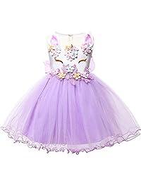 LZH Baby Girls Unicorn Dress Birthday Pageant Princess Costumes Rainbow Dress