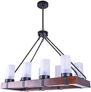 OYIPRO Vintage Industrial Kitchen Island Light, 8 Lights Retro Pendant Light Fixture Rectangular Wood Frame Metal Hanging Chandeliers Ceiling Light Lu