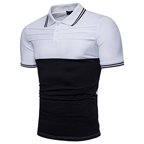 Bluestercool T-shirt Hommes Fashion Casual Slim Manches Courtes Patchwork Polo Shirt Tops Blanc