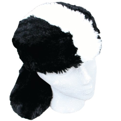 Teen/Adult Faux Fur Skunk Animal Hat Cap, Large, Black White, -