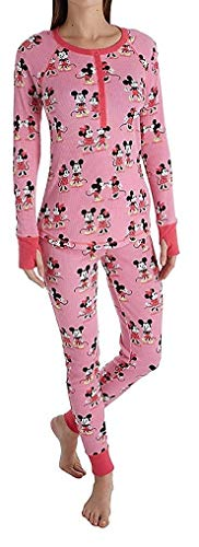 Disney Mickey and Minnie Pink Womens Long Sleeve Long John Pajama Set (Disney Womens Pajamas)