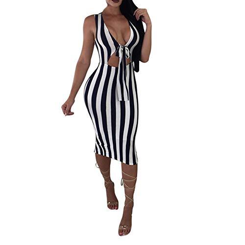 - HITRAS Clearance!Womens Dress!Women Sexy Deep V-Neck Stripe Bandage Tighten Package Hip Mini Dress