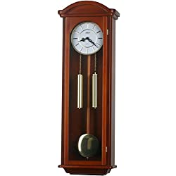 40-inch Solid Wood Pendulum Wall Clock with Hourly Westminster Chime and strike, night off (Chestnut)
