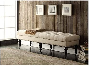 Francesca Entryway Upholstered 62-inch Cream and Off-White Linen and Fabric Tufted Bench with Espresso Legs