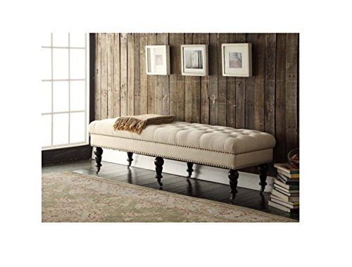 Entryway Upholstered 62-inch Cream and Off-White Linen and Fabric Tufted Bench with Espresso Legs (Upholstered Bench Wide)