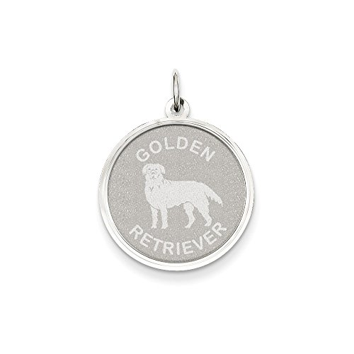 14k Gold White Gold Polished Engraveable Golden Retriever Disc Charm Pendant (1.02 in x 0.79 in)