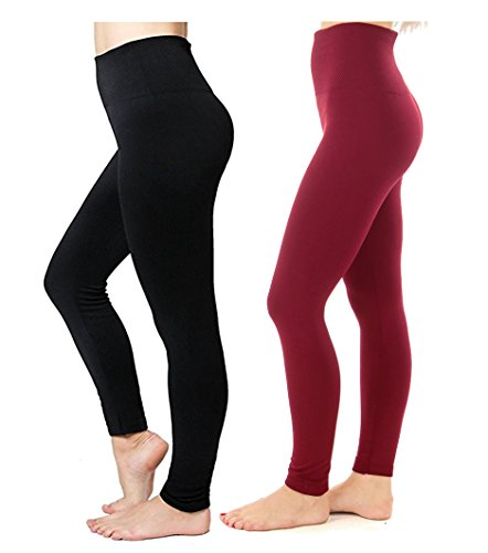 CakCton 2 Pack - Fleece Women Leggings For Winter Super Soft High Waist Stretchy Tights Yoga Pants - One Size