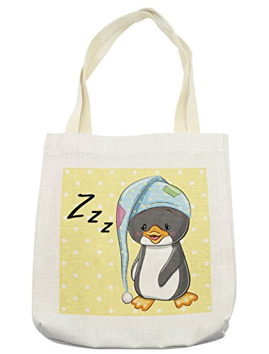 Lunarable Cartoon Tote Bag, Sleepy Baby Penguin in Hood Ready to Bed Childhood Happy Dream Cartoon Art, Cloth Linen Reusable Bag for Shopping Groceries Books Beach Travel & More, Cream