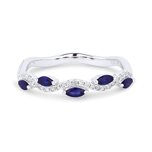 Eros' Iced Showroom Sapphire Gemstone & Accented White Diamond Ring Set In 18K White-Gold 0.1 Ct Gemstones