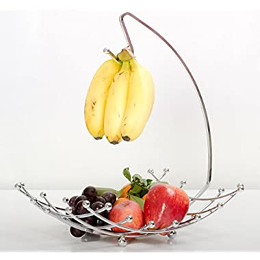 Fruit Basket with Banana Holder, Luxe Premium's High Quality Fruit Basket with Banana Hanger, Elegant and Decorative Chrome Fruit Bowl with Banana Hook, Amazing Design, Fashionable and Stylish Look