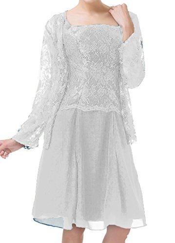 Bessdress Dentelle Courte Mère De Robes De Mariée Mousseline De Soie Robes De Soirée Avec Veste En Argent Bd265