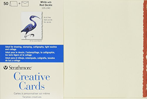 Strathmore 105-240 Full Size Creative Cards, White/Red Deckle, 50 Cards & Envelopes