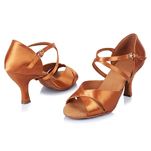 AF406 Brown Ballroom Roymall Tango Salsa Womens Shoes Satin Performance Dance Latin Model Shoes nSPOqw