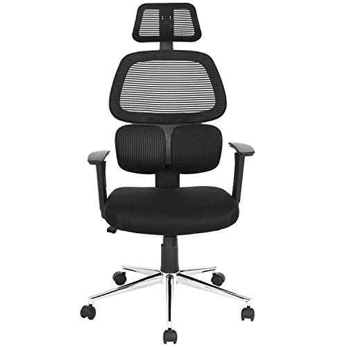 Coavas Ergonomic Office Chair Mesh Computer Desk Chair High Back Swivel Task Executive Chairs with Lumbar Support Adjustable Backrest Headrest Armrest Seat Height for Home Office Conference