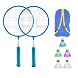 LIOOBO Juego de Bádminton para Niños Juego de Raquetas de Bádminton para Niños Juego de Juguete con Tres Bolas Y Bolsa de Almacenamiento Rosa