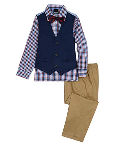 Izod boys 4-Piece Vest Set with Dress Shirt, Bow Tie, Pants, and Vest, Dark Blue, 6