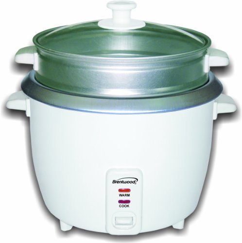 Brentwood Appliances TS-700S 4 Cup Electric Rice Cooker with Steamer, White