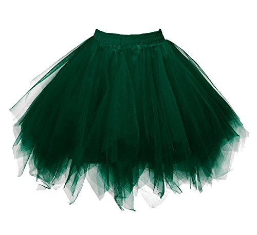 Dressever Vintage 1950s Short Tulle Petticoat Ballet Bubble Tutu Deep Green Large/X-Large]()