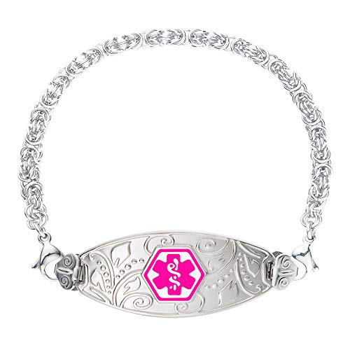 Divoti Custom Engraved Medical Alert Bracelets for Women, Stainless Steel Medical Bracelet, Medical ID Bracelet w/Free Engraving - Lovely Filigree Tag w/Handmade Byzantine-Violet-7.5