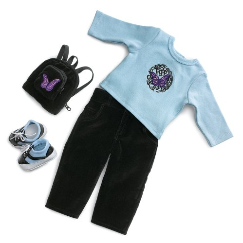 [Blue Butterfly School Outfit & Accessories - Fits 18