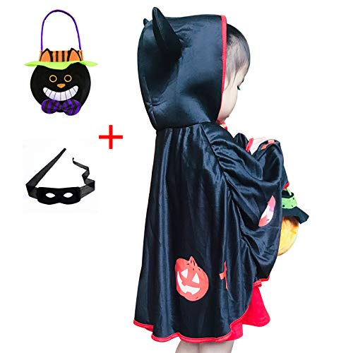 Cute Devil Costumes For Halloween (Boy Girl Halloween Cosplay Costume For Kid Little Devil Cosplay Cloak with Hat and Halloween Trick-or-Treat Candy Bag and Halloween Eye)