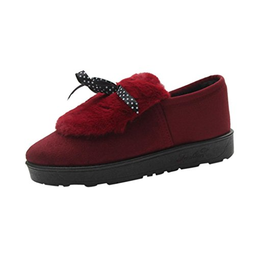 Hunpta Women's Casual Winter Warm Shoes Bow Tie Plush Flats Platform Shoes Red