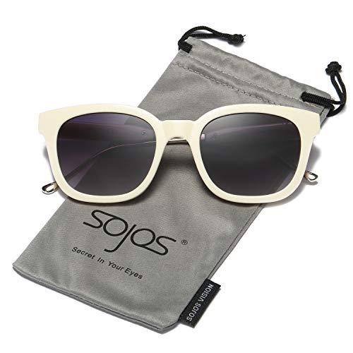 Cream Glass Shade - SOJOS Classic Polarized Sunglasses for Women Men Mirrored Lens SJ2050 with Cream Frame/Grey Polarized Lens