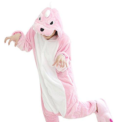 [Adstry Cosplay Kigurumi Pajamas Sleepwear Costume Homewear Lounge Wear 23 Dinosaur M] (Chun Li Wig)