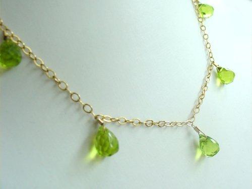 Gemshine - nCBperio - Collier pour petite et jeune fille - Or plaqué 14 (585) - Quartz de péridot - Vert - Larmes