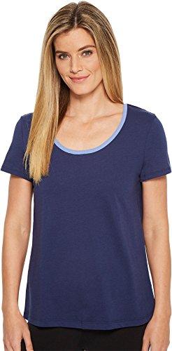Jockey Women's Cotton Jersey Short Sleeve Top with Back Keyhole Detail, Ink, M