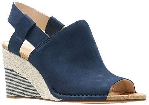 CLARKS Womens Spiced Bay Wedge Sandal, Navy Combi, Size 9