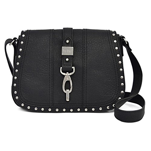 Nicole Miller New York Barlow Saddle FLP Crossbody Handbag, Black, One Size Nicole Miller Womens Accessories