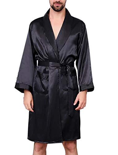 HEFASDM Men Charmeuse Spa Bathrobe Sleepwear Short-Sleeve Plus-Size Spa Robe Black 4XL