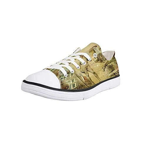 Canvas Sneaker Low Top Shoes,Italy,Ancient Florence Art Collage Michelangelo David Renaissance Decorative Women 11/Man 8