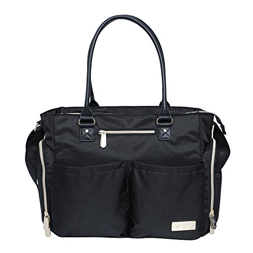 Jessica Simpson 3Pc City Tote Diaper Bag Baby Shoulder Handbag Purse, Black by Jessica Simpson