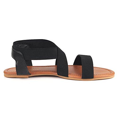 MuDan Women's Elastic Flat Sandals (8 B (M) US, Black-a) by MuDan (Image #3)