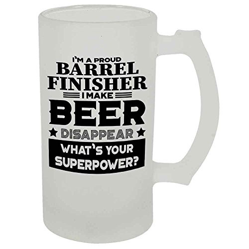 Barrel Finisher Beer Mug 22 OZ Frosted Matte Finish Premium Quality By HOM Gift For Barrel Finisher Friend Office Colleague Co-Worker Friend Buddy Present for Beer Lover Him Her Friend Uncle