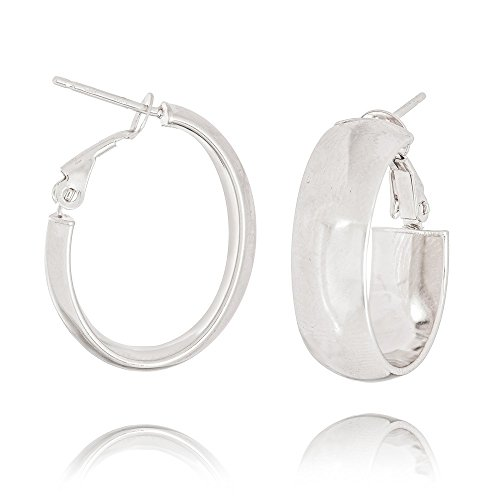 14k White Gold Plain 8mm Oval Hoop Earrings Omega Clip by JewelryWeb