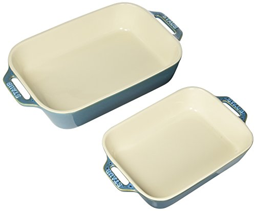 Staub 40511-924 Ceramics Rectangular Baking Dish Set, 2-piece, Rustic Turquoise Ceramic Oven Safe Casserole