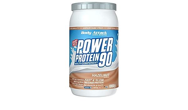 Body Attack Power Protein 90, Crema de Avellana, 1 kg, 5 K de proteína en polvo con proteína de suero, L-carnitina y BCAA para el desarollo de los ...