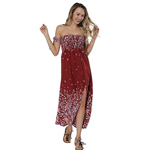 Lover-Beauty Vestido Largo Mujer Floral Print Top Ajustado Casual y Elegante Cuello Redondo Falda Verano Costura Manga Corta Rojo