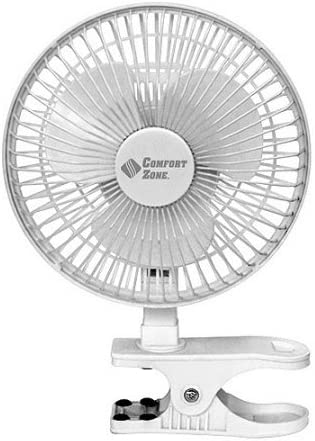 BOVADO USA 6 INCH – 2 Speed – Adjustable Tilt, Whisper Quiet Operation Clip-On-Fan with 5.5 Foot Cord and Steel Safety Grill, White – by Comfort Zone