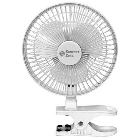 BOVADO USA 6 INCH - 2 Speed - Adjustable Tilt, Whisper Quiet Operation Clip-On-Fan with 5.5 Foot Cord and Steel Safety Grill, White - by Comfort Zone (Best Fan For College Dorm)