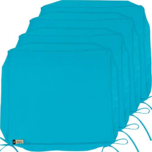 Outdoor Cushion Covers, 4-Pack Deep Seat Patio Cushion Cover, Heavy Duty Outdoor Furniture Lawn Couch Sofa Chair Seat Cushion Replacement, 24 x 22 x 4 Thick, Set of 4, Turquoise