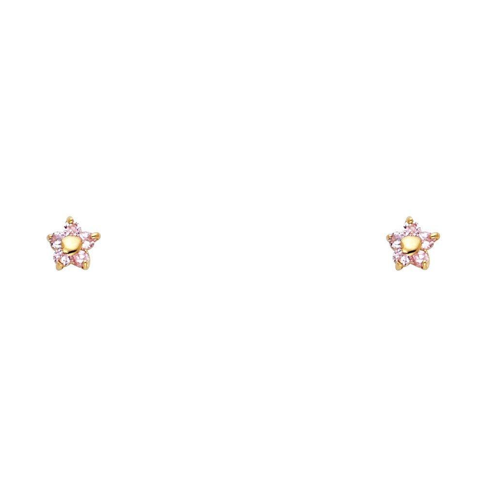 Wellingsale 14K Yellow Gold Polished Flower Stud Earrings With Screw Back