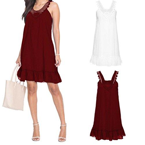 NINGSUN Donna T Maniche Sexy Moda Shirt Mini Dress Eleganti Gonna Pizzo Irregolare Abito Senza Ruffle a Vino Vestito Canotta Patchwork Senza Rosso Camicetta Schienale Estive r1qExtzr