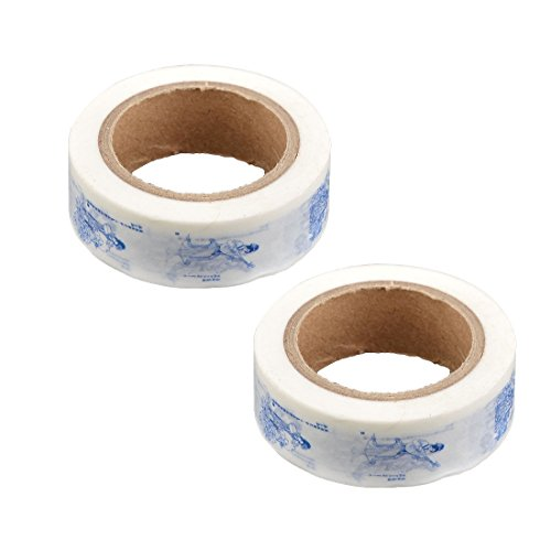 uxcell Washi Paper Household Festival Stationery Gift Wrapping Ornament Sticky Tape 2pcs