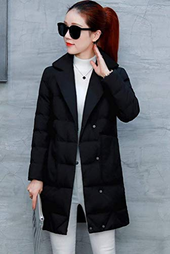 Piumini Lunga Colori Costume Piumino Trapuntata Giacca Schwarz Calda Donna Huixin Bavero Manica Eleganti Sciolto Solidi Invernali Casual Addensare Cappotti Fashion ntZWOT