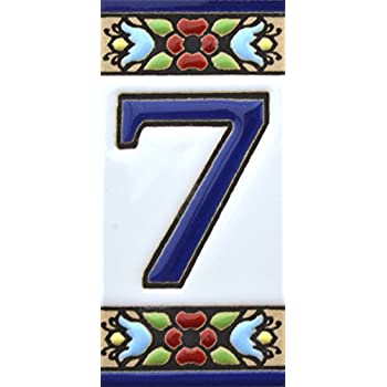 Amazon Com House Numbers Handpainted Polichrome Ceramic